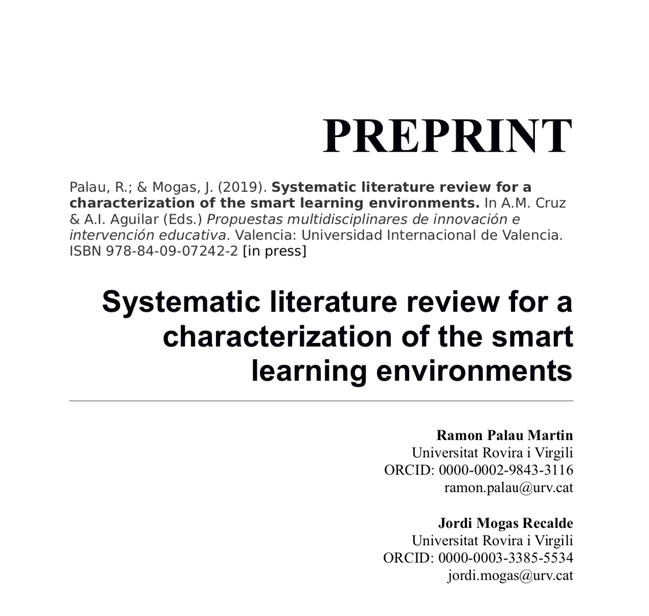 Systematic literature review for a characterization of the smart learning environments